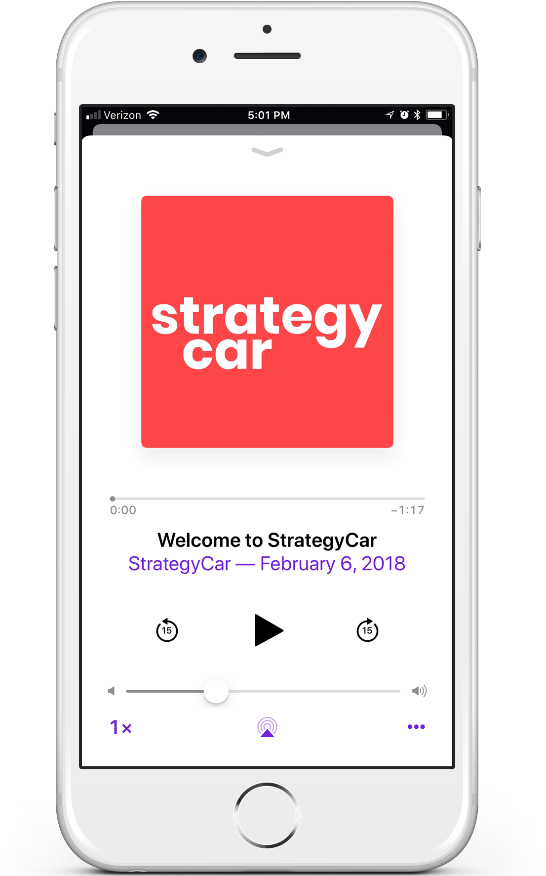 StrategyCar podcast screen on iPhone